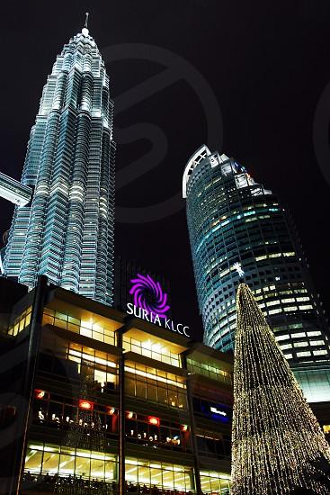 low angle photo twin tower Malaysia during nighttime photo