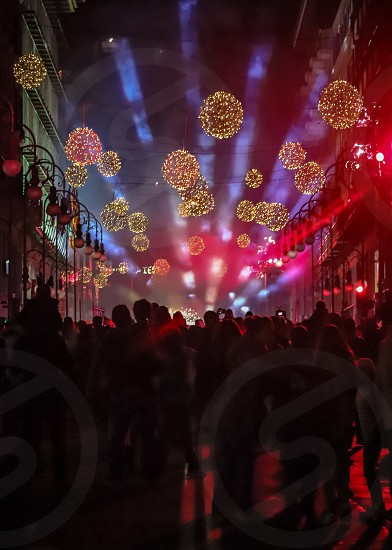 Street celebration in Palma de Mallorca during the night photo