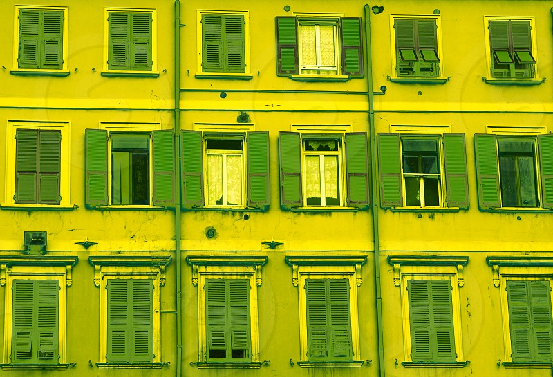 green fluo windows in the city photo