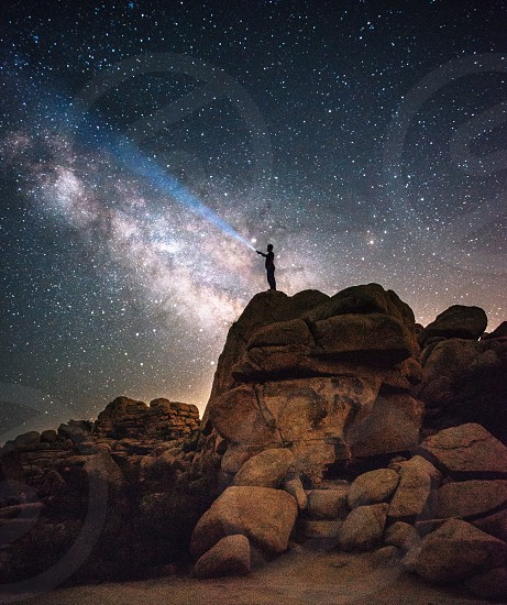 Milky Way nightscape self timer  photo