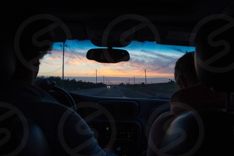 sunset drive roadtrip photo