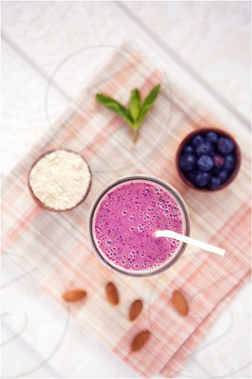 Delicious Blueberry Smoothie with Vegan Protein Powder photo