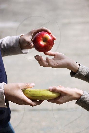 red apple and yellow banana fruit on hand photo