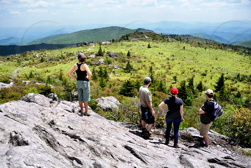 Group enjoying the view from the Appalachian Trail in Grayson Highlands State Park Virginia. photo