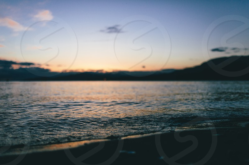 Sunset abstract Vancouver water sea mountains photo