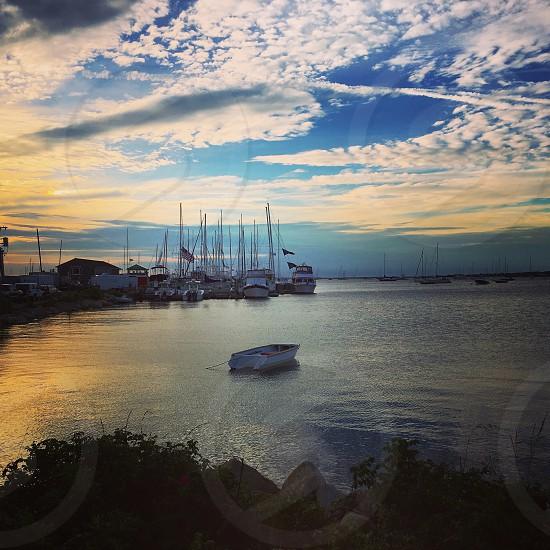 Block Island harbor marina sunset  photo