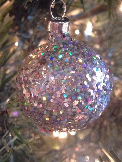 close up photo of gray glitter bauble photo