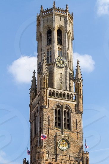 detailed view from the upper part of the belfry of Bruges in Bruges in Belgium. photo