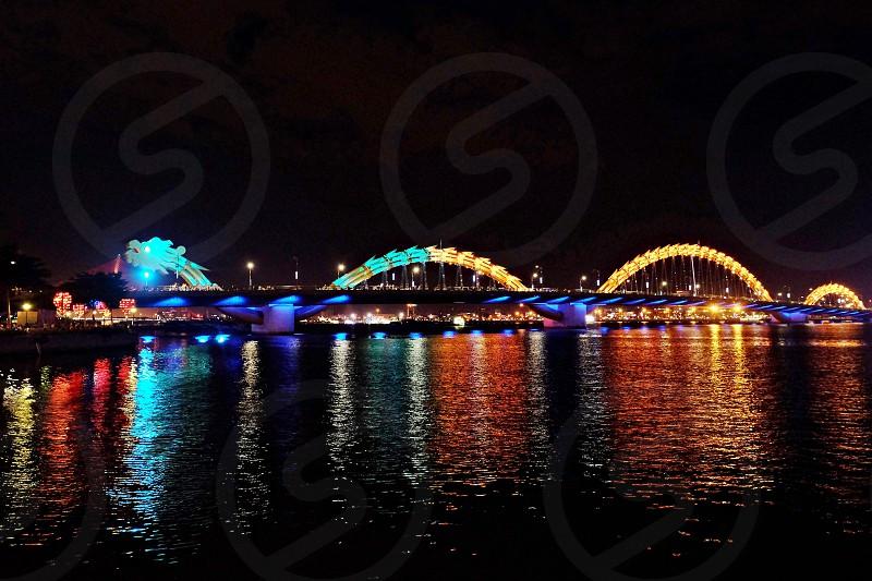 Cau Rong the longest dragon bridge in Da Nang Vietnam.  photo