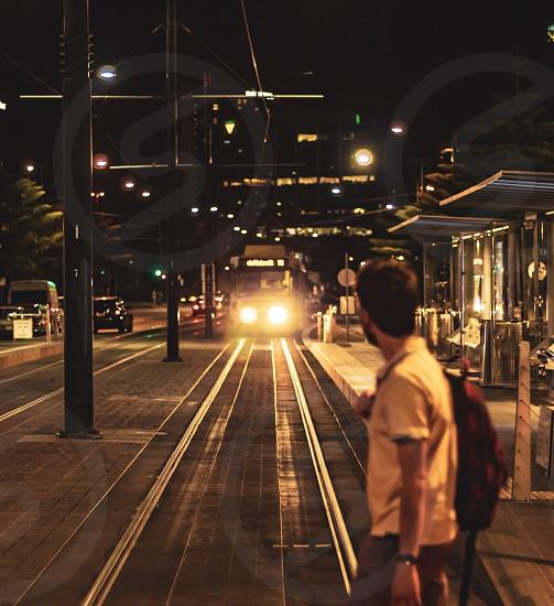 Oncoming; tram; Melbourne; Australia; street; city; night photo