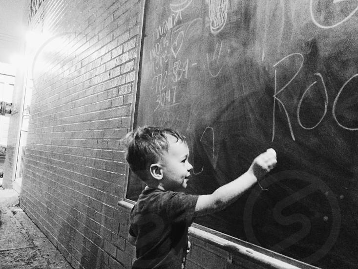 Urban wall kids playing photo