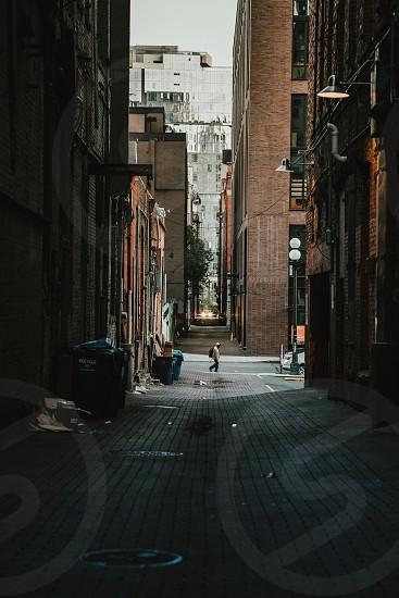 Alley alleyway city buildings pedestrian Seattle Washington. photo