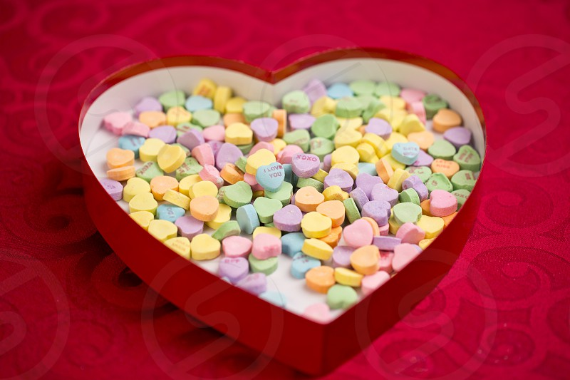 candy love messages in a heart shaped box photo