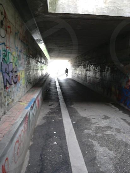 tunnel light black travel streets urban outdoors photo