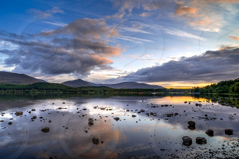 View of Loch Morlich at dusk photo