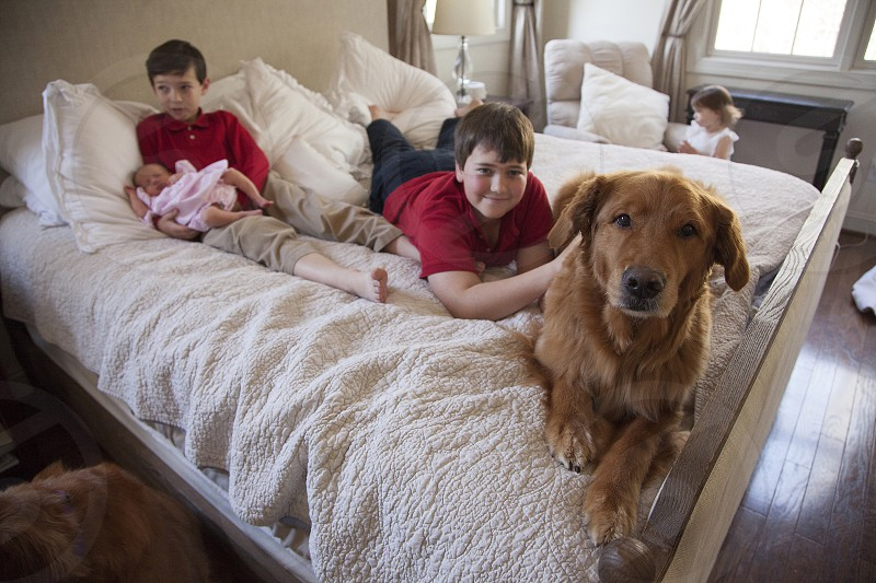 Family with dog hanging out in parents' bedroom photo