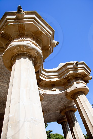 Hundred Columns Chamber Barcelona Park Guell of Gaudi photo