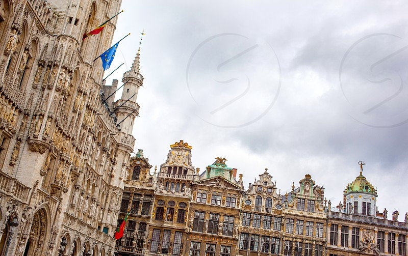 Guildhalls on the Grand Place in Brussels Belgium. photo