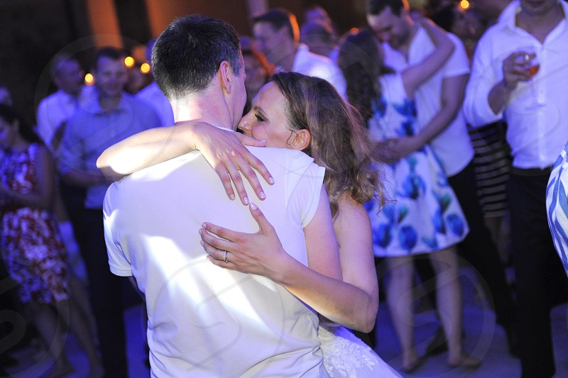 Young couple on a dance floor. photo
