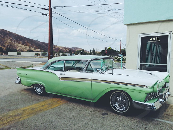 green vintage car photo
