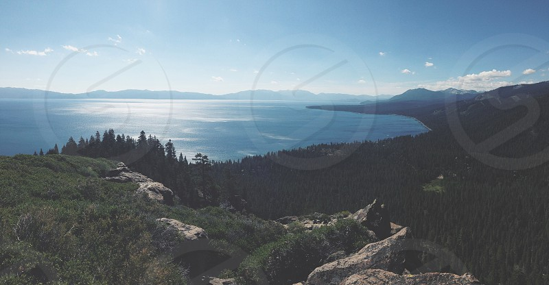 Lake Tahoe view from hiking faded.  photo