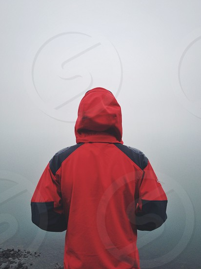 red and black hooded jacket photo