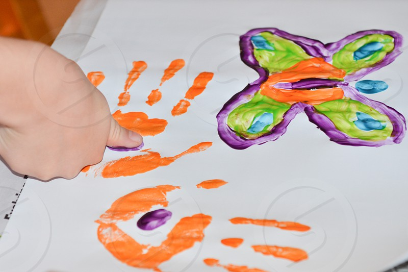 Finger painting arts & crafts  photo