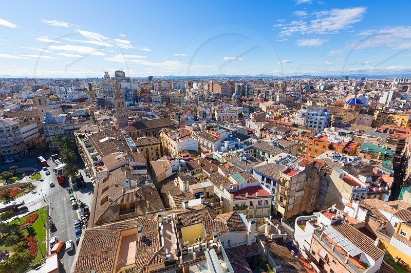 Valencia aerial skyline with Plaza de la Reina at Spain photo