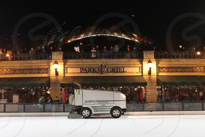 Symmetry Chicago winter ice rink millennium park bean zamboni photo