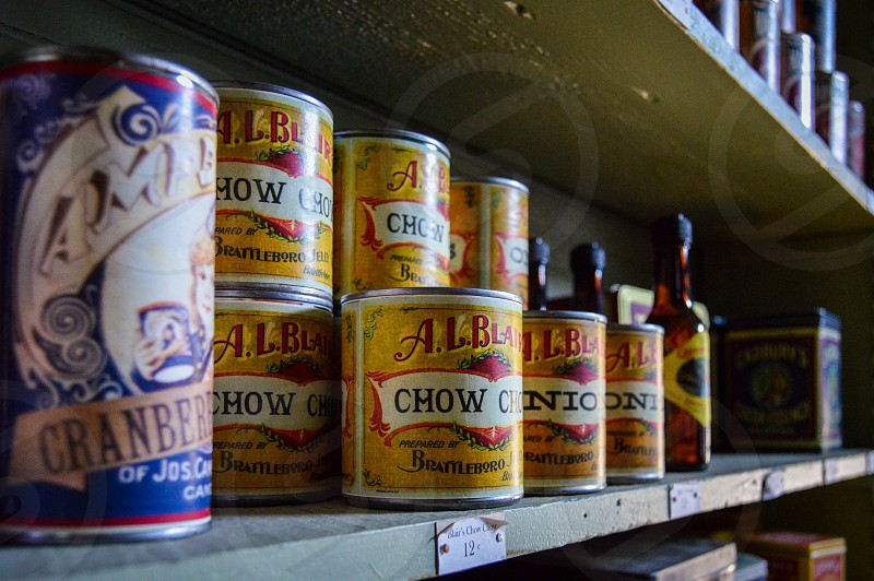 Some vintage grub in a can. Reproduction canned goods from a loooong time ago. photo