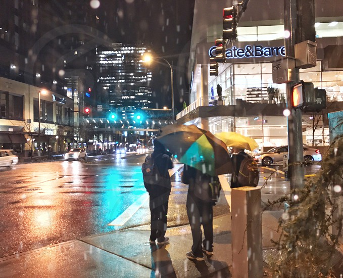 Seattle's rainy evening in the city. photo