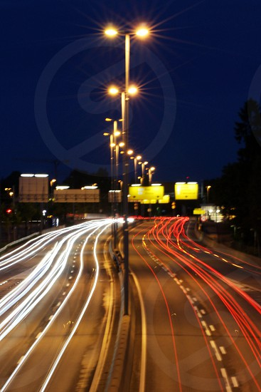 street lights and cars low exposure photography photo