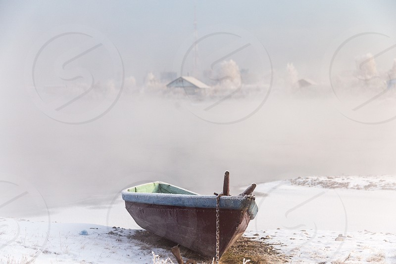 Winter boat. # winter #boat #river #picture #poster #beauty photo