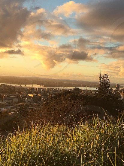 Auckland New Zealand sunset Sky Tower cityscape international travel photo