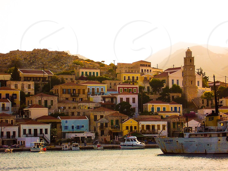 Greece  greek  island islandsGreek  islands Chalki  Chalki town Mediterranean photo
