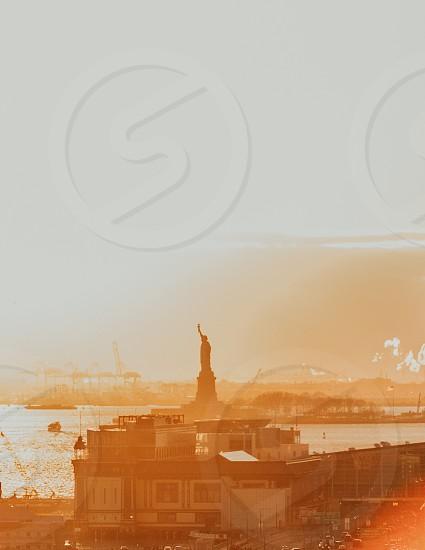 nyc sunset taxi boat statue of liberty brooklyn bridge san fransico photo
