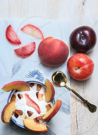 healthy fitness yogurt peaches clean eats photo