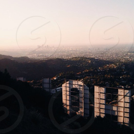 hollywood sign overlooking the los angeles state photo