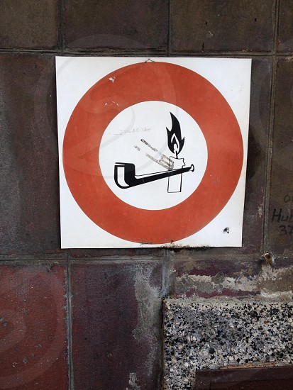 red and white no smoking sign photo