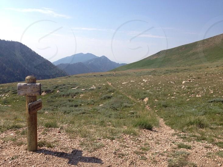 Saddle at 10000ft at fork in the trail. Deseret Peak. Utah.  photo