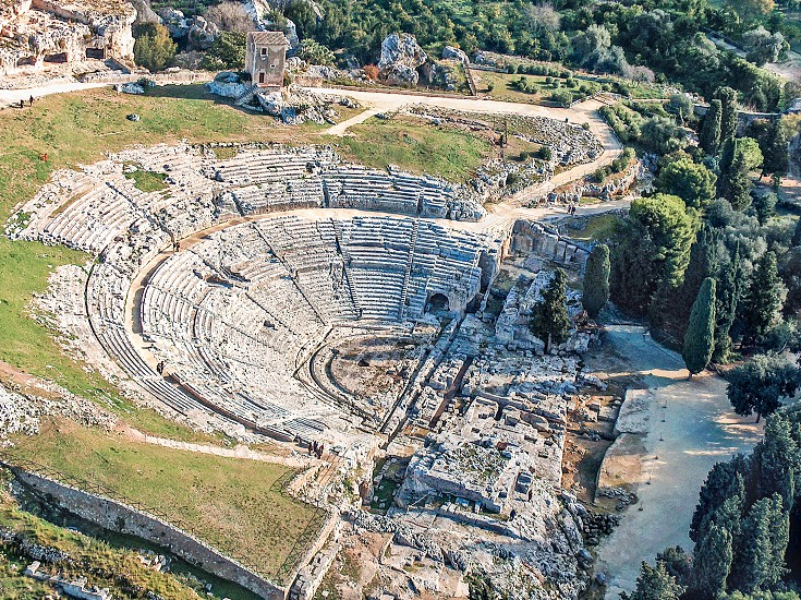 Aerial view of Greek Theatre of Syracuse Sicily photo