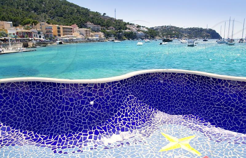Andratx port in Majorca Balearic island from mosaic tiles bench photo