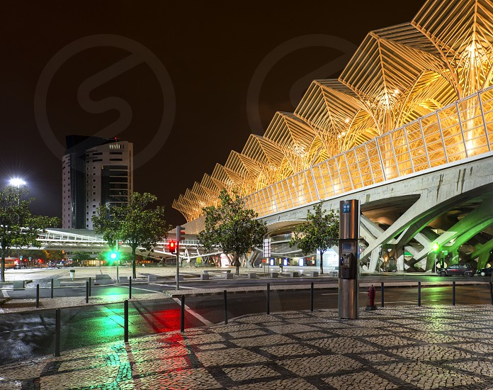 Gare do Oriente in the night photo