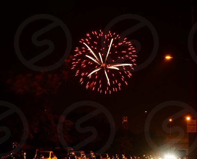 fireworks display at night time photo