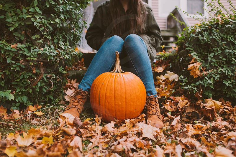 pumpkin fall autumn warm cold brisk outdoors young woman woman girl lady cute leaves  photo