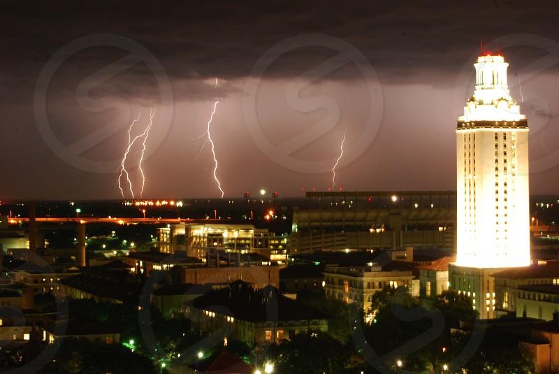 Lightening storm over University of Texas campus photo