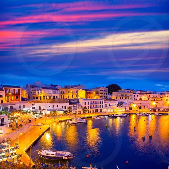 Calasfonts Cales Fonts Port sunset in Mahon at Balearic islands photo