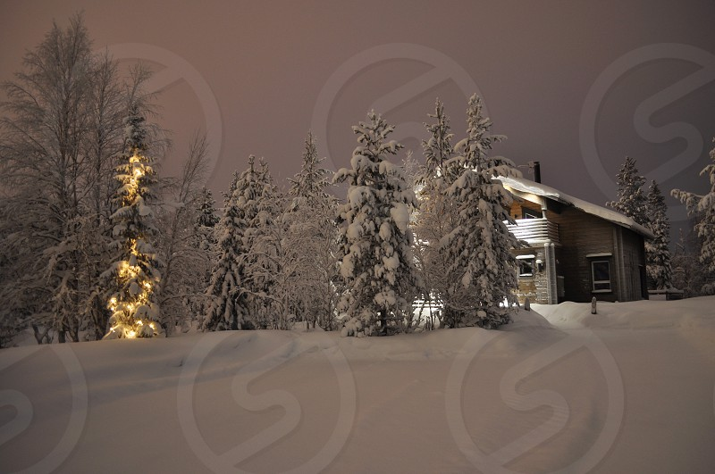 House in winter by the christmas style - 3 photo