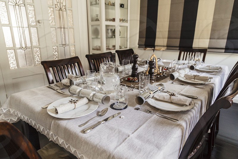 christmas table dinner setting formal decorated dining room interior decorating meal lunch  photo