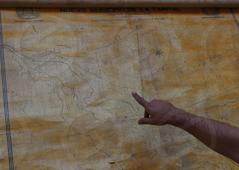 tracing the path on old map  photo